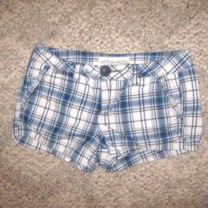 AEROPOSTALE Blue Plaid 4 Pocket Short Shorts 0